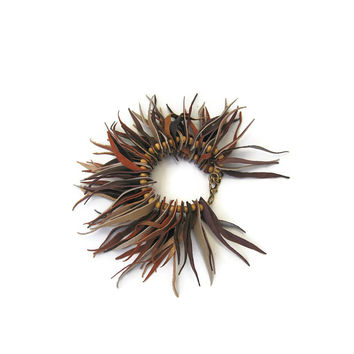 MASLINDA DESIGNS Fringe Leather Cuff in Earth Tones