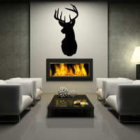 Deer head hunting wall decal silhouette