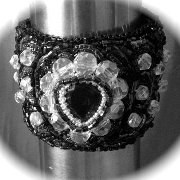 Black and Crystal Cuff, Bracelet, Teardrop Gemstone, Glass Crystals, Black Seed Beads