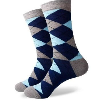Blue and Gray Striped Dress Sock