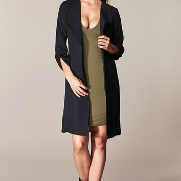 Sweet Mello Roll Up Sleeve Trench Coat W/ Lining