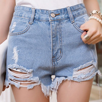 Women Summer High Waist Tassel Hole Short Jeans Denim Slim Shorts Hot