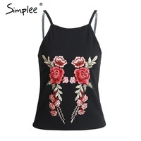 Simplee Sexy floral Embroidery camisole crop top Summer sleeveless black tank top tees Causal streetwear women tops female cami