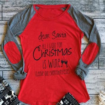 Funny Christmas Red Long Sleeve Shirt for Women Wine Lovers