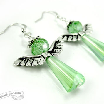 Green Angel earrings, crystal angels, green earrings, Christian jewelry, Catholic earrings, Holiday jewelry, Christmas earrings birthstone