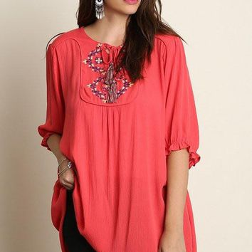 Plus Size 3/4 Sleeve Embroidered Tunic - Coral
