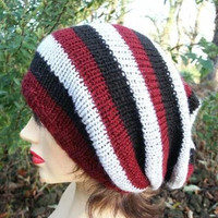 Knitted Oversized Slouchy Beanie  Heads Black Burgundy Gray
