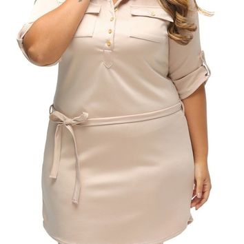 Streetstyle  Casual Polo Collar Solid Plus Size Bodycon Dress With Flap Pocket