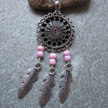 Antique Silver Dream Catcher Necklace , Feather Necklace,Pink Beads Necklace ,Native American Jewelry