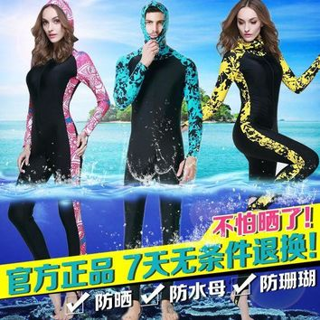 DCCK7N3 Jellyfish clothing female male plus size long-sleeve swimwear sun-proof snorkeling one-piece swimming suit diving suit Wetsuit
