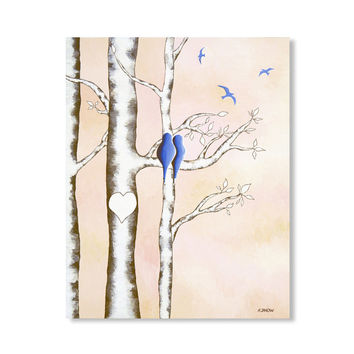 Birch Tree Love Birds Original Acrylic Painting on Canvas, Personalized Wedding Gift, Bridal Shower Gift, Home Decor 16x20