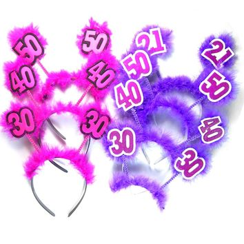 1pc Pink Birthday headband 50% off for 3pcs purple feather hair accessories fun adult birthday party 21 30 40 50 woman favors