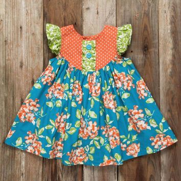 New blue and orange floral dress