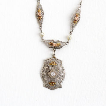 Antique Art Deco 10k White Gold Diamond & Pearl Filigree Lavalier Pendant Necklace- Vintage 1920s Rose and Yellow Gold Flower Fine Jewelry