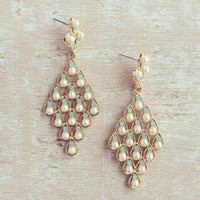 Darling Pearl & Mint Earrings