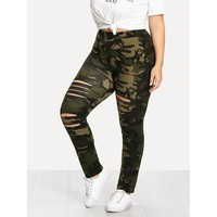 Camouflage Ladder Ripped Legging