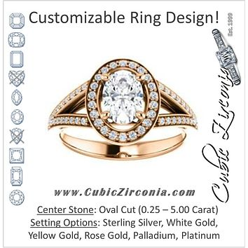 Cubic Zirconia Engagement Ring- The Heather Erin (Customizable Cathedral-Halo Oval Cut Style featuring Split-Pavé Band)