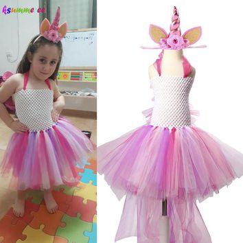 2-12 Years Unicorn Bustle Girl Tutu Dress Kids Little Pony Costume for Birthday Party Halloween Purim Can be Customized Color