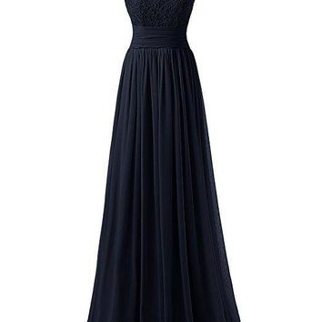 TDHQ Women Long Prom Dress Scoop Bridesmaid Dress Lace Chiffon Evening Gown