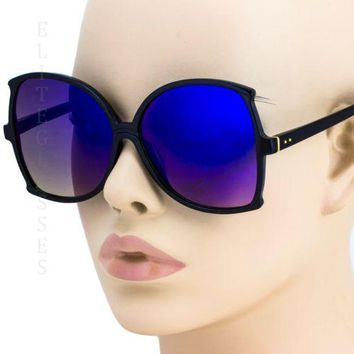 NEW Large Oversized Square Sunglasses Blue Mirror Retro butterfly Black Frame
