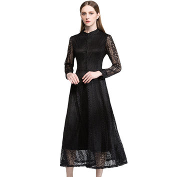 2017 Sexy Women Runway Lace Dress Hollow Out Sheer Long Sleeve Mid-calf Dress Button Elegant Club Party Casual Dresses Vestidos