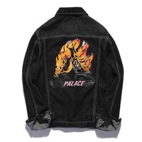 Palace Fashion Print Distressed Denim Cardigan Jacket Coat