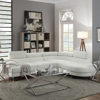 White Bonded Leather Modern Sectional Sofa