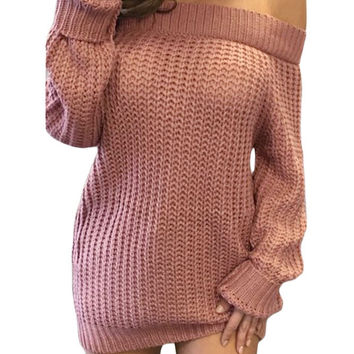 Pink Off Shoulder Shredded Back Sweater Dress