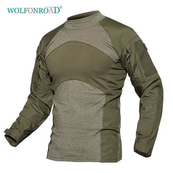 WOLFONROAD Men Army Green Rip-stop Tactical T Shirts Long Sleeve Camouflage Hiking T-Shirt Autumn Hunting Paintball Clothing