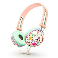 Ankit Fat Bass Over the Ear Noise Isolating Cute Pastel Peach Floral Headphones, iPhone, Android Compatible