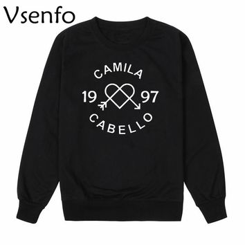 Vsenfo Camila Cabello Sweatshirt Fifth Harmony Hoodies Men Women Crewneck Hipster Long Sleeve Sweatshirts