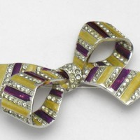Early MARCEL BOUCHER MB Mark Enamel Rhinestone Ribbon Bow Rare