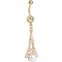 Clear Gem Faux Pearl Gold Plated Ornate Eiffel Tower Dangle Belly Ring | Body Candy Body Jewelry