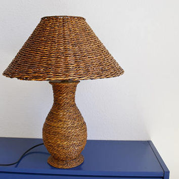 wicker table lamp, Wicker Vintage lamp, wicker table lamp, table, wicker lamp, Ratan table Shabby Chic