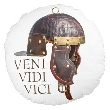 Ancient Roman military helmet - Veni, Vidi, Vici Round Pillow