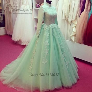 Green Vintage Long Sleeve Muslim Wedding Dress Lace Ball Gown Bride Dresses 2017 High Neck African Wedding Gowns Robe de Mariee