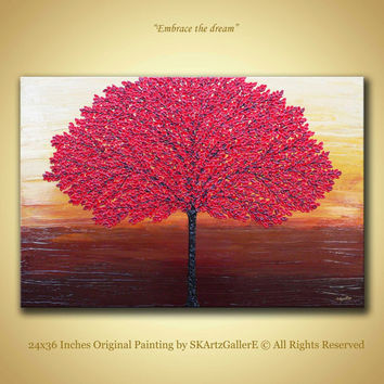 Red Tree Painting, Original Artwork, Modern Landscape, Red Abstract Painting Large Canvas art, Red tree wall painting, Textured tree artwork