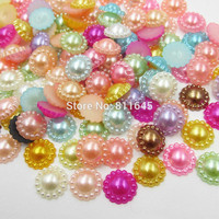 50pcs/lot 12mm Mix Color Flower Shape Imitation Half Round Pearl Flatback Beads for Scrapbook DIY Decoration