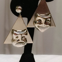 Unique Vintage signed Alice Silver Dangle Triangle Comedy Tragedy Masks Theatrical Drama Art Earrings MCM modern cool