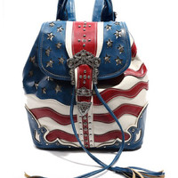 Western Cowgirl USA Flag Design Rhinestones Belt Draw String Backpack