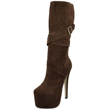 Womens Mid Calf Boots Strappy Buckle Platform Sexy High Heels Brown SZ