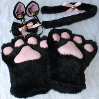1 Set New Anime Cosplay Costume Gloves Sweet Cat Ears Plush Paw Claw Gloves Tail Bow-tie Halloween Party