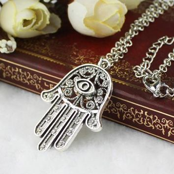 Good Luck Protection Hamsa Symbol Fatima Hand Evil Eye Pendant Chain Necklace