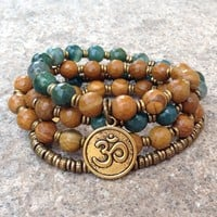 """Abundance and Protection"" 54 Bead Mala Bracelet or Necklace, Jasper and Moss Agate"