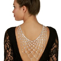 Sale- Silver Rhinestone Veil Back Collar Necklace