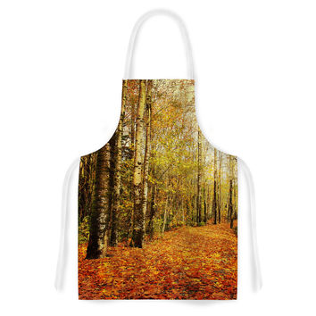 "Sylvia Cook ""Autumn Leaves"" Rustic Artistic Apron"