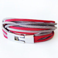 Suede Wrap Bracelet, Modern Wrap Bracelet, Double Wrap Bracelet, grey and red bracelet