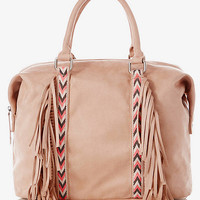 WOVEN FRINGE SATCHEL from EXPRESS