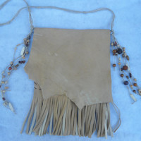 Genuine Deerskin Leather Fringed messenger/purse/bag Handmade and Handsewn Boho Bag Hippie Purse leather Purse Leather Bag Beaded Leather