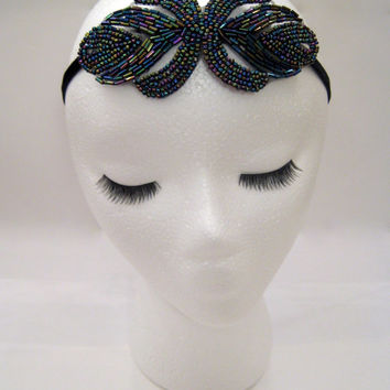 Gatsby headband, 1920s headpiece, flapper headpiece, multicolor art deco, prom hair piece, Prohibition party, 1930s headband